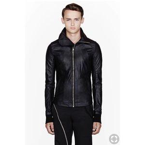 Rick Owens Black Leather High Neck Intarsia Jacket